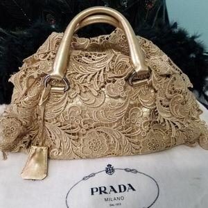 EUC Prada Gold Oro Lace Pizzo Bag Limited Edtion